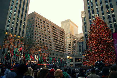 Christmas Tree Lights At Rockefeller Center Brighten The Cloudy Skies Above