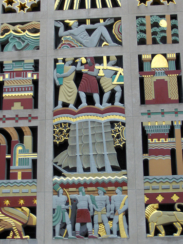 A Colorful Mural Embracing The Outside Of The Rockefeller Center.