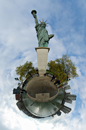 A Very Trippy Computer Rendering Of The Statue Of Liberty And The Surrounding Area