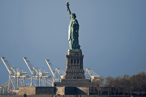 The Statue Of Liberty On A Sunny Day.