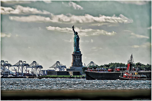 Portrait Of The Statue Of Liberty Dedicated On October 28, 1886.