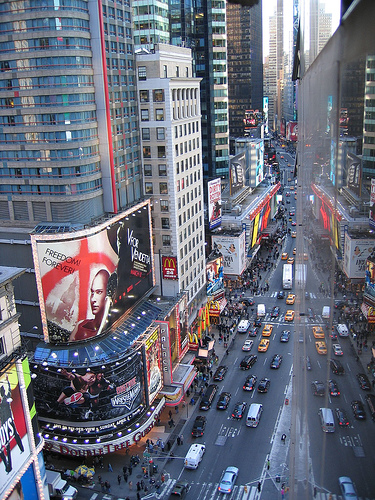 A Dizzying View Of Manhattan's Times Square.