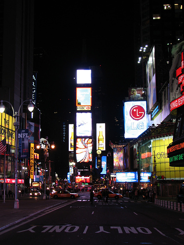 Calm Night In Time Square, A Major Intersection In Manhattan.
