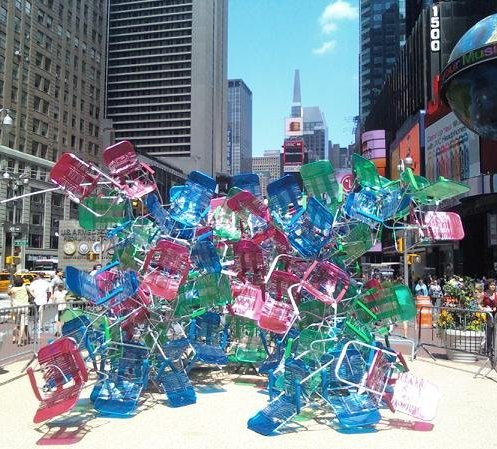 An Installation Art Piece Set Up In Times Square.