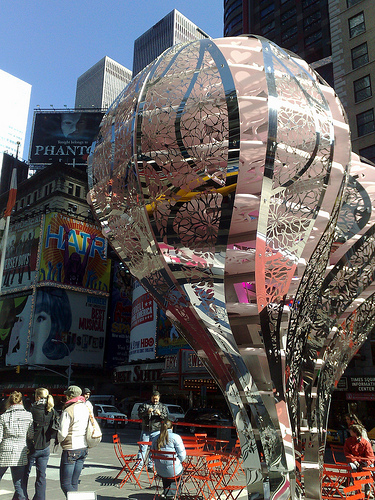 A Heart In Times Square During A Rare Sunny Day In Nyc