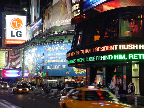 A Vivid Night Shot Of Times Square Before President Bush Left Office