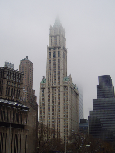 The Grand Woolworth Building During A Gray Foggy Day