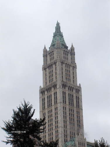 Cloudy Day Outside Fifty-seven Story Woolworth Building In New York City.