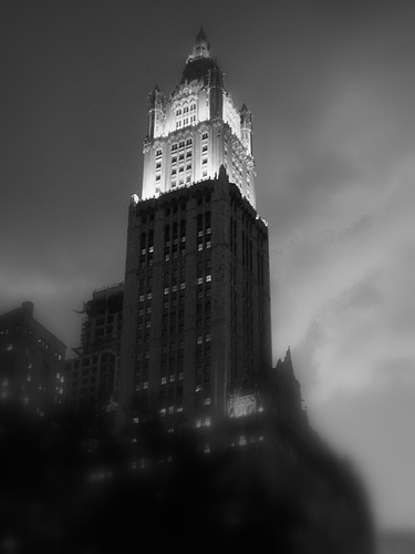 The Ominous Looking Woolworth Building On A Foggy Night