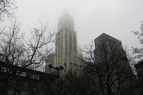 Seen Here Cutting Through The Clouds Is The Woolworth Building
