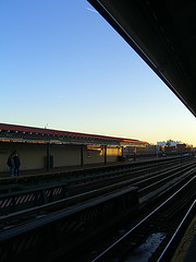 Subway Station In Astoria Queens Under Clear Blue Sky
