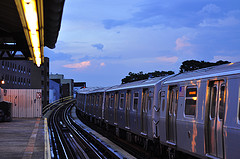 Train Pulls Into Astoria,  Queens Subway Station