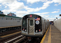 The R160 N Train, Running At Astoria Of Queens In New York City