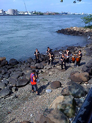 Children Gather By The Water In Astoria, Queens
