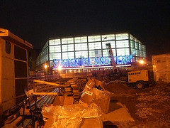 Construction Occurs In Front Of The Staten Island Light Sign