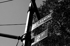 Sign Board Of Joey Ramone Place, Named After Ramones, The Rock Band Known As The First Punk Rock Group