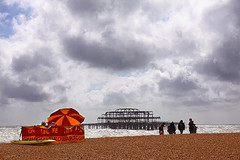 Lifeguards Are Hoping They Don't Have To Go Into The Icy Water On A Windy Cold Day On Brighton Beach.