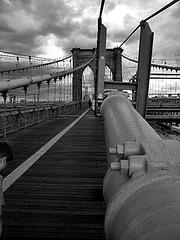 Brooklyn Bridge Shot In Black And White On A Cloudy Day