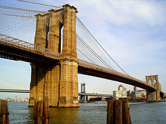 The Brooklyn Bridge Spans Across The Water.