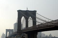 Overlooking Brooklyn Bridge On A Cloudy Day