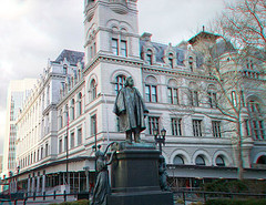 Henry Ward Beecher Statue And Brooklyn Post Office At Cadman Plaza