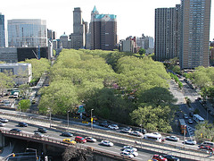 An Aerial Shot Of The Highway And Cadman Plaza