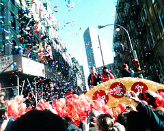 The Chinese New Year's Parade In New York City's Chinatown--at The Corner Of Mott And Bayard.