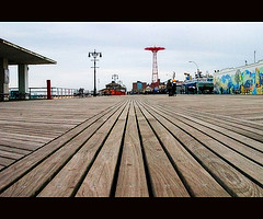 The Boardwalk Beckons The First Visitors This Morning To Astroland.