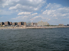 A Far Away View Of Coney Island From Across The Water