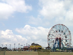 Approaching The Famous Amusement Park Here At Coney Island.