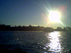 Cameraphone Snap Of the East River With Boat And Major Lens Flare
