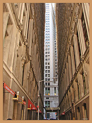Tall Buildings Loom Over Wall Street In The Financial District