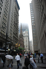 A Building Disappearing Into The Clouds In The Financial District,  Lower Manhattan.