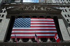 Glorious U.S. Flag In Front Of New York Stock Exchange