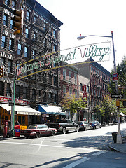 Welcome Sign Over Greenwich Village Street Sign That Jane Jacobs Would Love