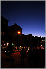 Dark Street Scene in Greenwich Village With Magical Sky