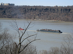 A Barge On The Hudson River On A Cold Dreary Day.