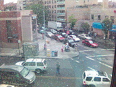 An Image Through A Rainy Window Of Jackson Heights Queens
