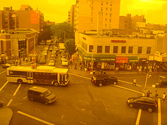 A Yellow Toned Aerial View Of Jackson Heights, Queens