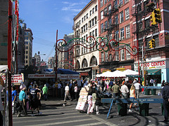 The Crowd On The Streets In Little Italy, Manhattan.
