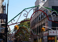 Little Italy, Manhattan, Decked Out In The Colors Of The Italian Flag