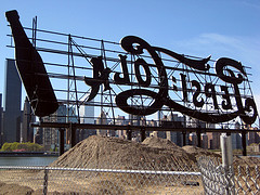Pepsi Cola Sign Shown Backwards In Long Island City