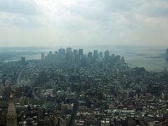 A Very Hazy View Of The New York City's Lower Manhattan Skyline.
