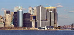 Viewing Skyline In Lower Manhattan From The Staten Island Ferry