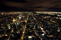 An Aerial View Of Lower Manhattan At Night