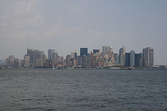 A View Of Lower Manhattan From Across The River On An Overcast Day.