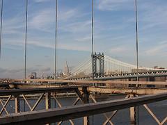 The Manhattan Bridge Stretches Across The River.