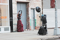A Model Poses For Her Photographer In The Meatpacking District.