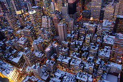 The Night Time City Lights Of Midtown Manhattan