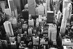 A Black And White Picture Of Midtown Manhattan